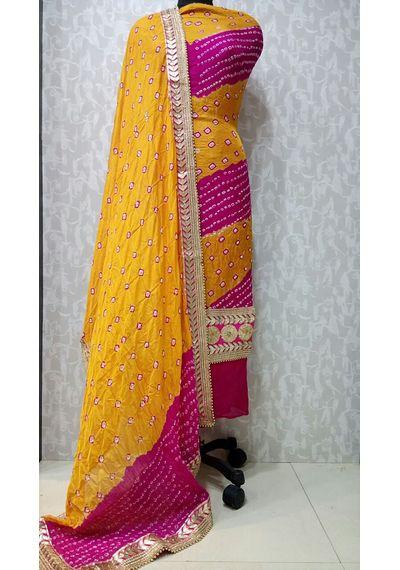 Yellow Orange -Jaipuri Bandhani Suits