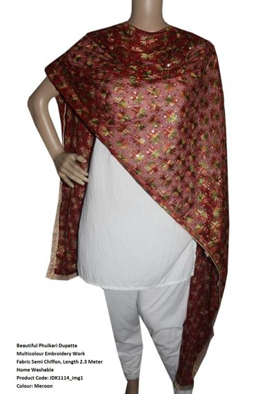 Chiffon Phulakari  Dupatta