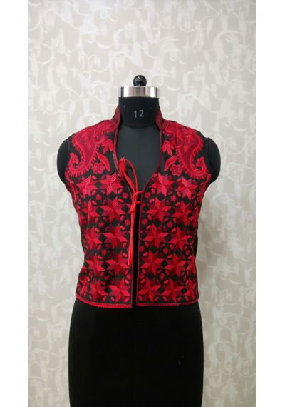 Red Phulkari Jacket