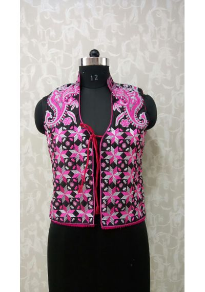 Pink Grey Phulkari Jacket