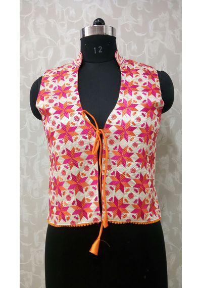 Orannge Pink Phulkari Jacket