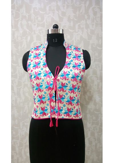 Pink Blue Phulkari Jacket