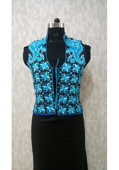 Blue Phulkari Jacket