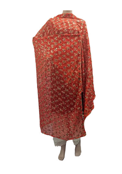 Orange Kanchan Phulkari Dupatta