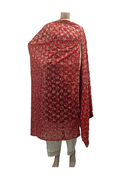 Red Kanchan Phulkari Dupatta