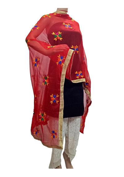 Red Phulkari Dupatta