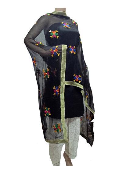 Black Phulkari Dupatta