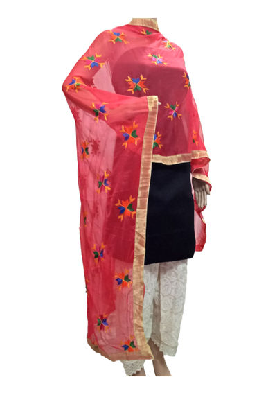 Bright Red Phulkari Dupatta