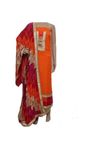 Orange Phulkari Suit