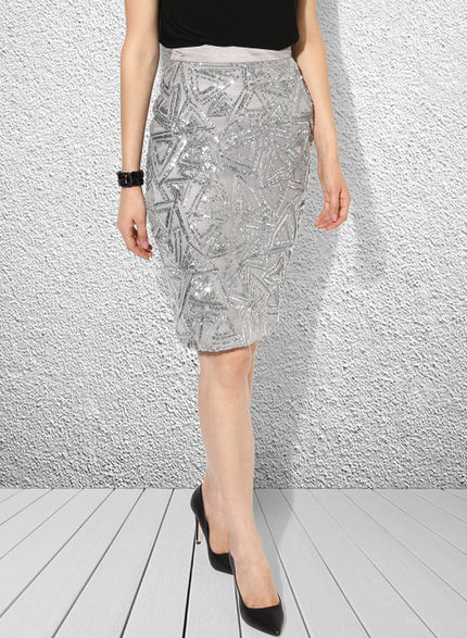 Sequins Satin Pencil Skirt