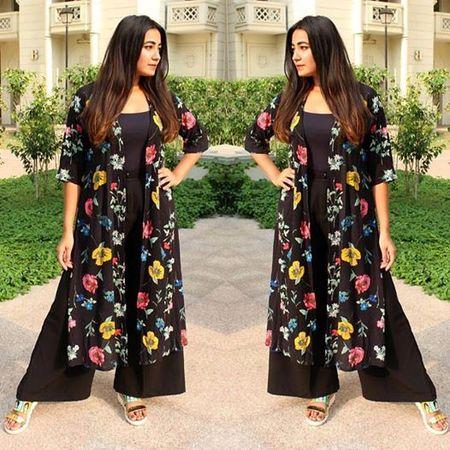 black floral cape