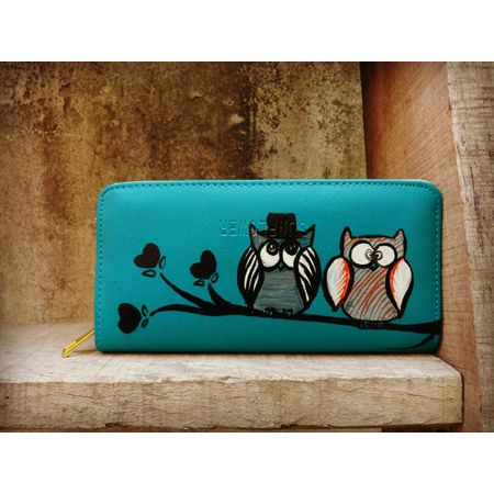 blue hat owl wallet