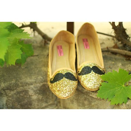 golden bling glitter moustache ballerina