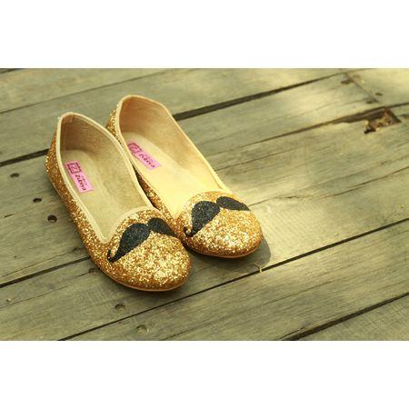 Golden Glitter mustache