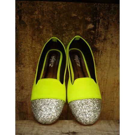 Neon Lemon glitter toe ballerina