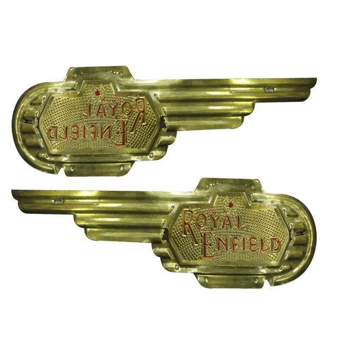 Speedy riders Premium Quality Brass Pair Petrol Tank Motif / Badge for Royal Enfield