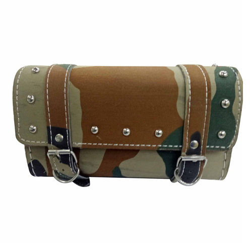 Customized Square Military Print Saddle Bag For Royal Enfield Classic