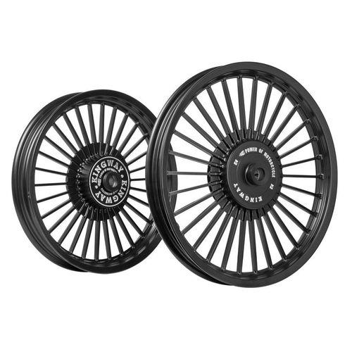 Kingway KS3A 30 Spokes Bike Alloy Wheel Set of 2 19/18 Inch Black for Royal Enfield Classic