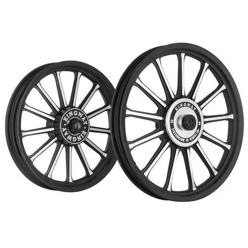 Kingway SR3B 13 Spokes Bike Alloy Wheel Set of 2 19/18 Inch Black CNC-Royal Enfield Classic 500 (Black)