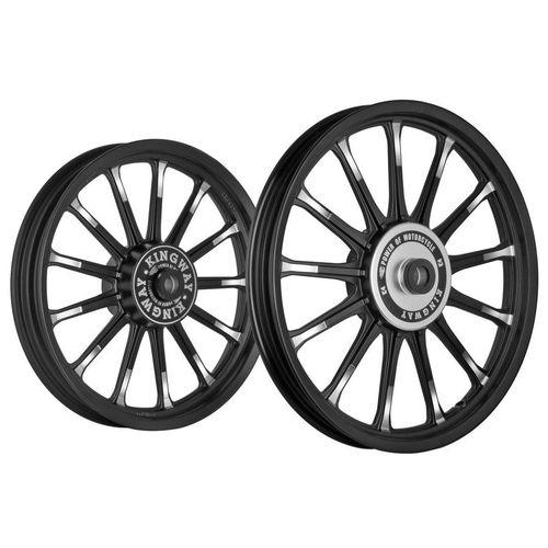 Kingway SR3C 13 Spokes Bike Alloy Wheel Set of 2 19/18 Rim Black Spokes Half CNC for Royal Enfield Classic