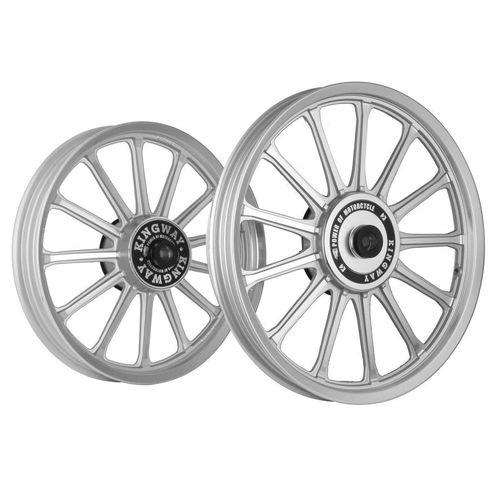 Kingway SR3G 13 Spokes Bike Alloy Wheel Set of 2 19/18 Inch Silver CNC for Royal Enfield Classic