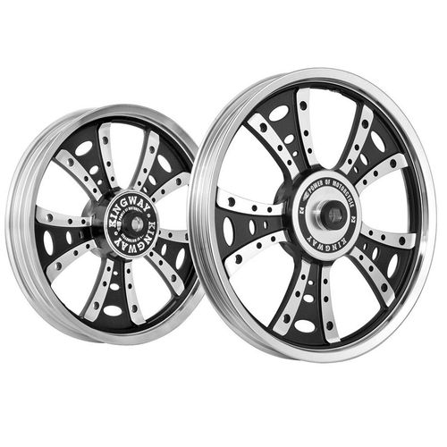 Kingway GS4A Fat Boy Bike Alloy Wheel Set of 2 19/18 Inch Black CNC for Royal Enfield Thunderbird
