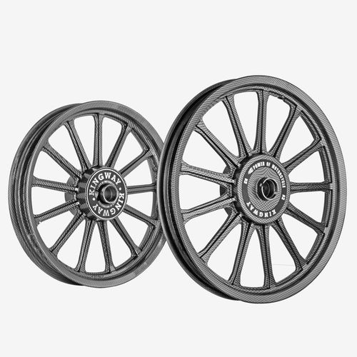 Kingway SR3L 13 Spokes Bike Alloy Wheel Set of 2 19/18 Inch Cage Space Grey for Royal Enfield Classic
