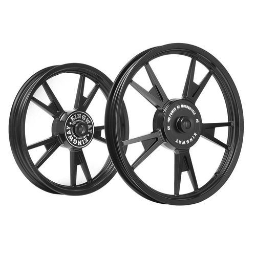 Kingway AT3B 10 Spokes Bike Alloy Wheel Set of 2 19/18 Inch Black CNC for Royal Enfield Classic