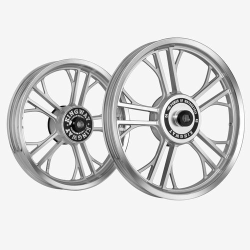 Kingway HR2L Y Model Bike Alloy Wheel Set of 2 19/19 Inch Silver CNC for Royal Enfield Electra/Thunderbird