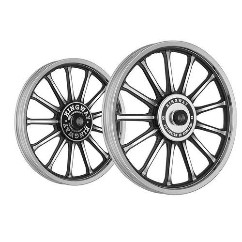 Kingway SR3A 13 Spokes Bike Alloy Wheel Set of 2 19/18 Rim and Spoke CNC Black for Royal Enfield Classic