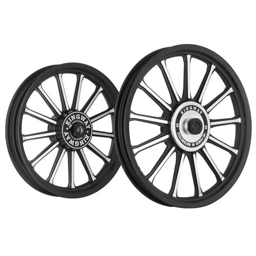 Kingway SR2B 13 Spokes Bike Alloy Wheel Set of 2 19/19 Inch Black CNC for Royal Enfield Electra/Thunderbird