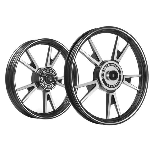 Kingway AT3A 10 Spokes Bike Alloy Wheel Set of 2 19/18 Inch Black CNC for Royal Enfield Classic