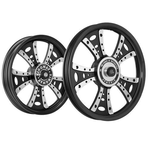 Kingway GS4G Fat Boy Bike Alloy Wheel Set of 2 19/18 Inch Black CNC for Royal Enfield Thunderbird