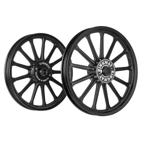 Kingway SR2R 13 Spokes Bike Alloy Wheel Set of 2 19/19 Inch Black for Royal Enfield Electra/Thunderbird