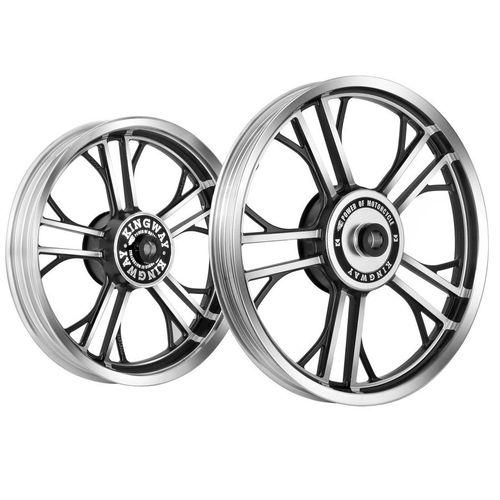 Kingway HR2C Y Model Bike Alloy Wheel Set of 2 19/19 Inch CNC Black for Royal Enfield Electra/Thunderbird
