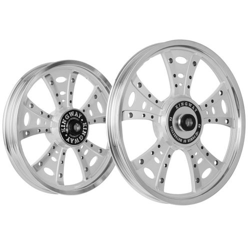 Kingway GS3B Fat Boy Bike Alloy Wheel Set of 2 19/18 Inch Silver CNC for Royal Enfield Classic