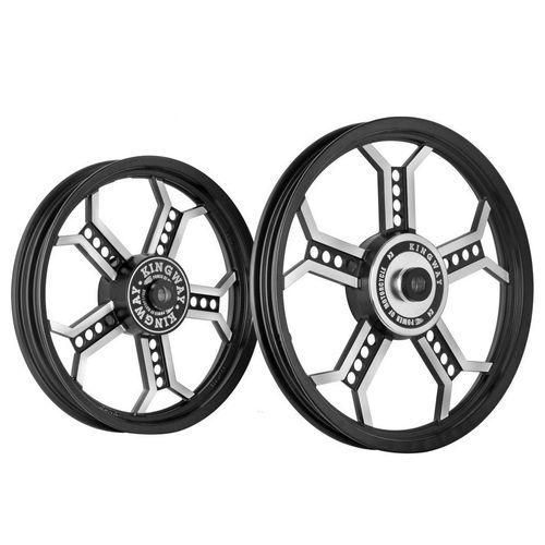 Kingway RM3A Chopper Bike Alloy Wheel Set of 2 19/18 Inch Black for Royal Enfield Classic