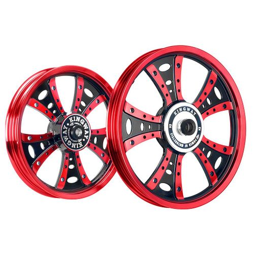 Kingway GS2X Fat Boy Bike Alloy Wheel Set of 2 19/19 Inch Igneous Red Black for Royal Enfield Electra/Thunderbird