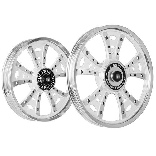 Kingway GS3S Fat Boy Bike Alloy Wheel Set of 2 19/18 Inch Mirag White CNC-Royal Enfield Classic Desert Storm