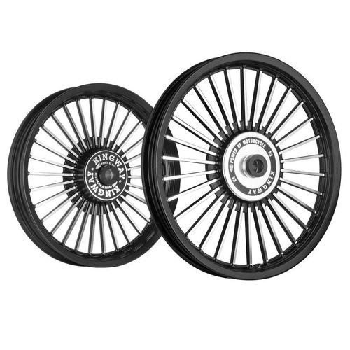 Kingway KS3B 30 Spokes Bike Alloy Wheel Set of 2 19/18 Inch Black CNC-Royal Enfield Classic 500