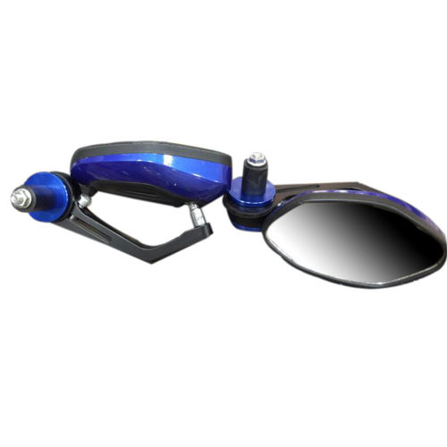 Speedy Rider Handle Bar End Mirror Rear View Mirror Oval Blue & Black Color for Royal Enfield