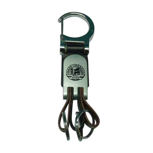 Speedy Riders Leatherite Metal Black Keychain with Royal Enfield Design