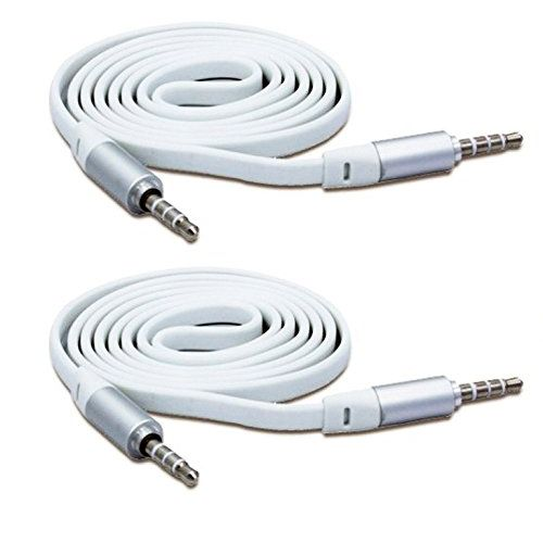 Speedy Riders Anti Tangle 3.5mm Car Stereo Aux Cable Wire Cord set of 2 White Color For All Cars