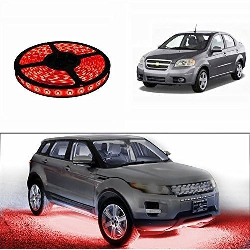Speedy Riders 5 Meters Waterproof Cuttable LED Lights Strip Roll Red Color For All Cars