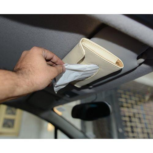Speedy Riders Leatherette Roof Sun Visor Tissue Box Holder Beige For All Cars