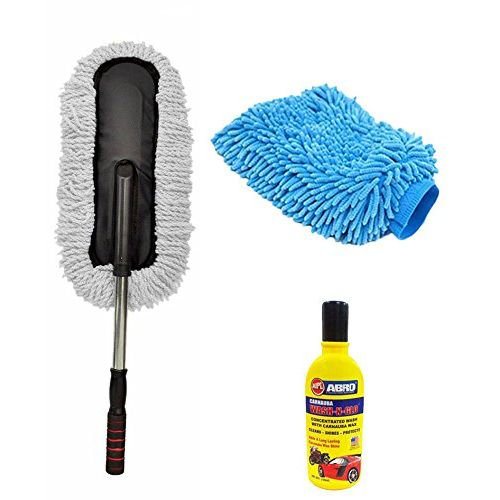 Speedy Riders Car Cleaning Kit Long Microfiber Duster + Abro Shampoo + Glove For All Cars