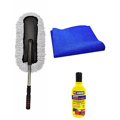 Speedy Riders Car Cleaning Kit Long Microfiber Duster + Abro Shampoo + Cloth Assorted For All Cars