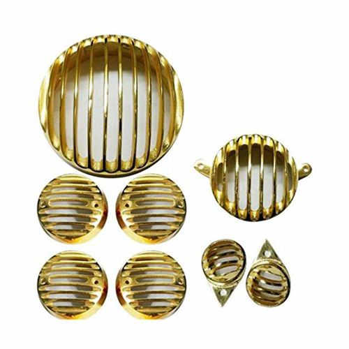 Speedy riders Premium Quality  Brass Combo Complete Set Headlight / Back Light / Tail Light / Indicator Grill for Royal Enfield