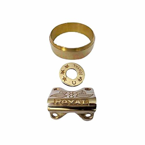 Speedy riders Premium Quality Brass Combo Handle Bar Clamp / Ignition Switch Plate / Speedometer Cada Ring for Royal Enfield