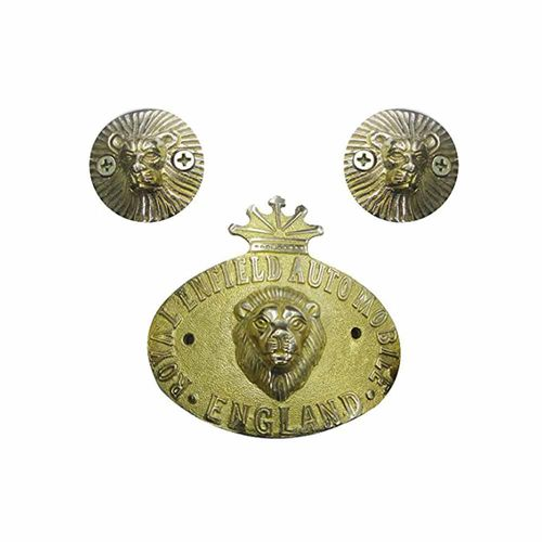 Speedy riders Premium Quality Brass Combo Lion Face Handle Bar Weight and Lion Face Badge / Decal for Royal Enfield
